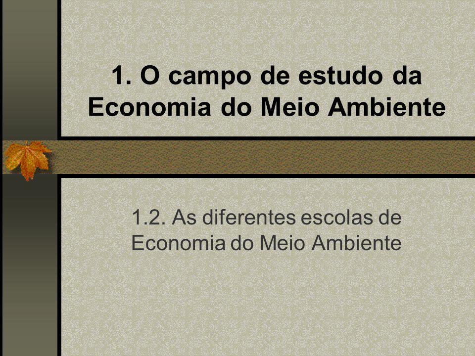 1. O campo de estudo da Economia do Meio Ambiente 1.2. As diferentes escolas de Economia do Meio Ambiente