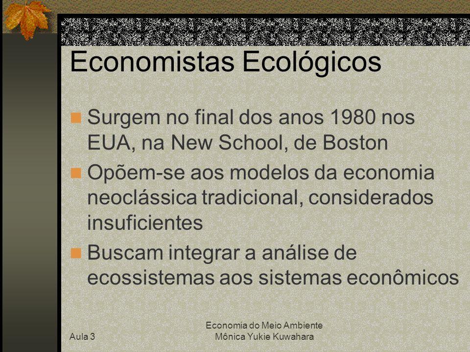 Aula 3 Economia do Meio Ambiente Mônica Yukie Kuwahara Economistas Ecológicos Surgem no final dos anos 1980 nos EUA, na New School, de Boston Opõem-se