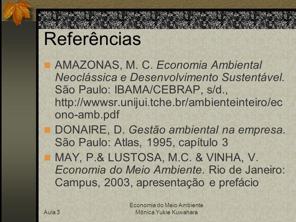 Aula 3 Economia do Meio Ambiente Mônica Yukie Kuwahara Referências AMAZONAS, M. C. Economia Ambiental Neoclássica e Desenvolvimento Sustentável. São P