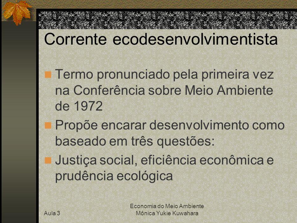 Aula 3 Economia do Meio Ambiente Mônica Yukie Kuwahara Corrente ecodesenvolvimentista Termo pronunciado pela primeira vez na Conferência sobre Meio Am