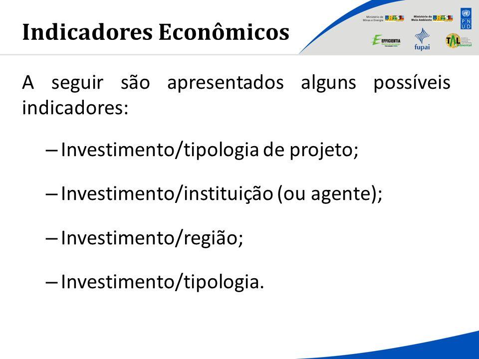 Indicadores Econômicos A seguir são apresentados alguns possíveis indicadores: – Investimento/tipologia de projeto; – Investimento/instituição (ou age