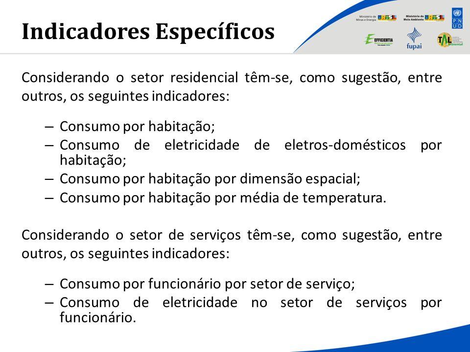 Indicadores Específicos Considerando o setor residencial têm-se, como sugestão, entre outros, os seguintes indicadores: – Consumo por habitação; – Con