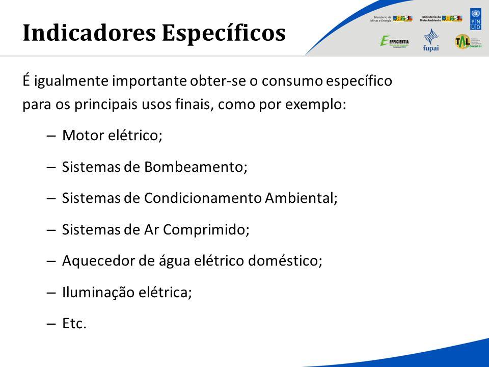 Indicadores Específicos É igualmente importante obter-se o consumo específico para os principais usos finais, como por exemplo: – Motor elétrico; – Si