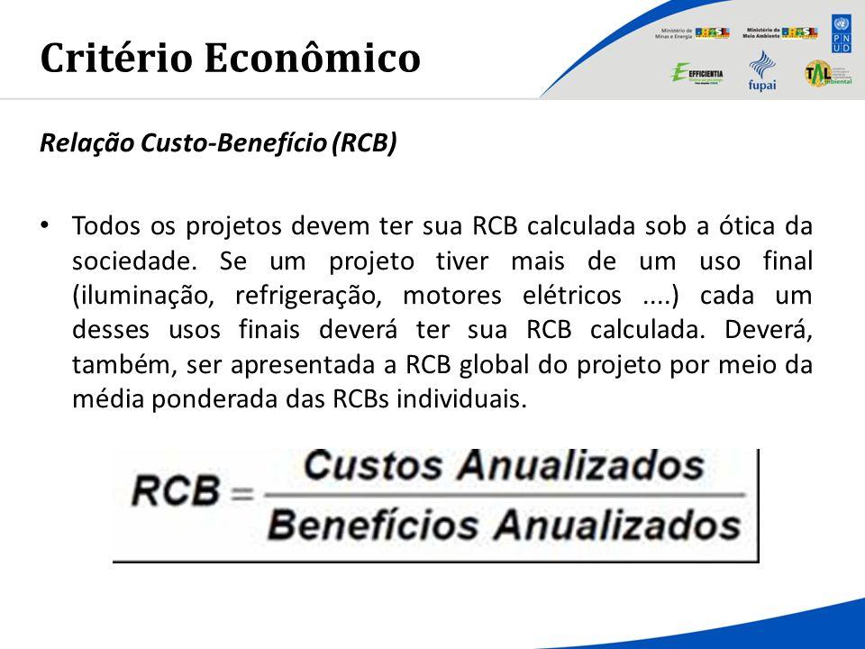 Critério Econômico Relação Custo-Benefício (RCB) Todos os projetos devem ter sua RCB calculada sob a ótica da sociedade. Se um projeto tiver mais de u