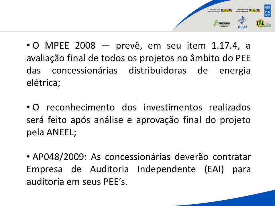 O MPEE 2008 prevê, em seu item 1.17.4, a avaliação final de todos os projetos no âmbito do PEE das concessionárias distribuidoras de energia elétrica;