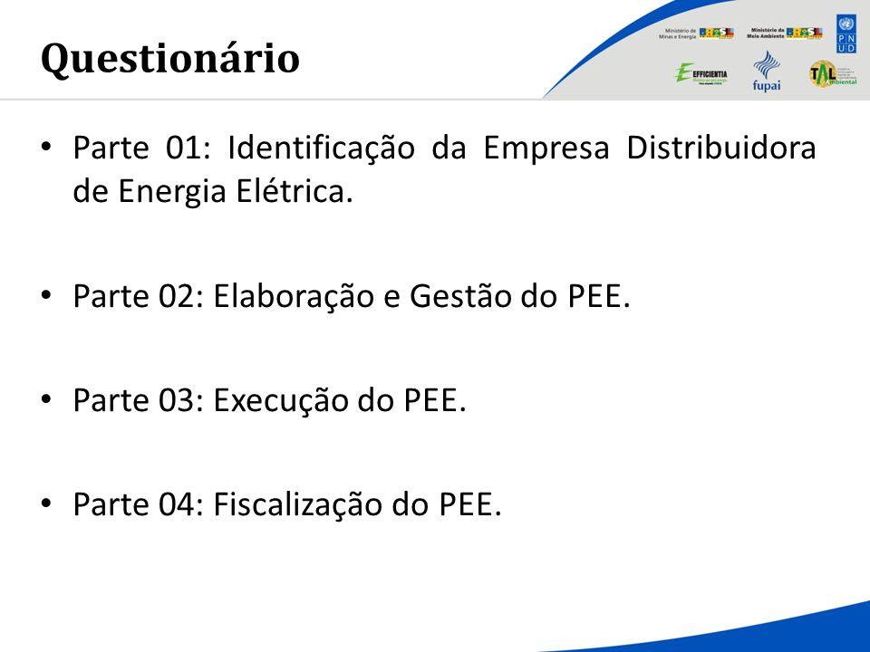Questionário Parte 01: Identificação da Empresa Distribuidora de Energia Elétrica. Parte 02: Elaboração e Gestão do PEE. Parte 03: Execução do PEE. Pa