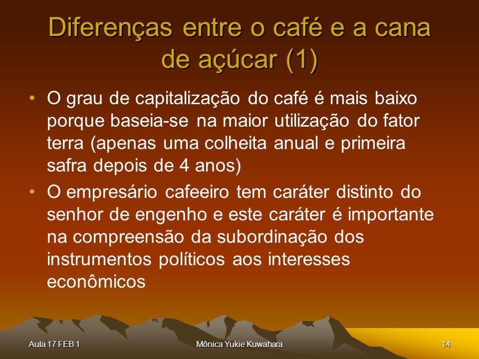 Aula 17 FEB 1Mônica Yukie Kuwahara14 Diferenças entre o café e a cana de açúcar (1) O grau de capitalização do café é mais baixo porque baseia-se na m