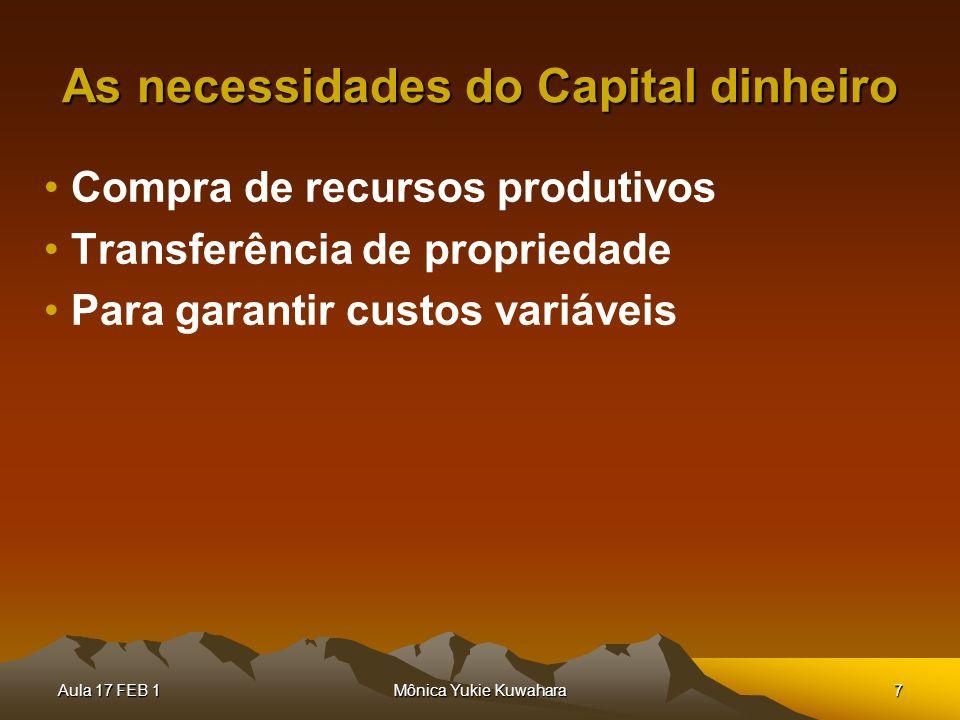Aula 17 FEB 1Mônica Yukie Kuwahara7 As necessidades do Capital dinheiro Compra de recursos produtivos Transferência de propriedade Para garantir custo