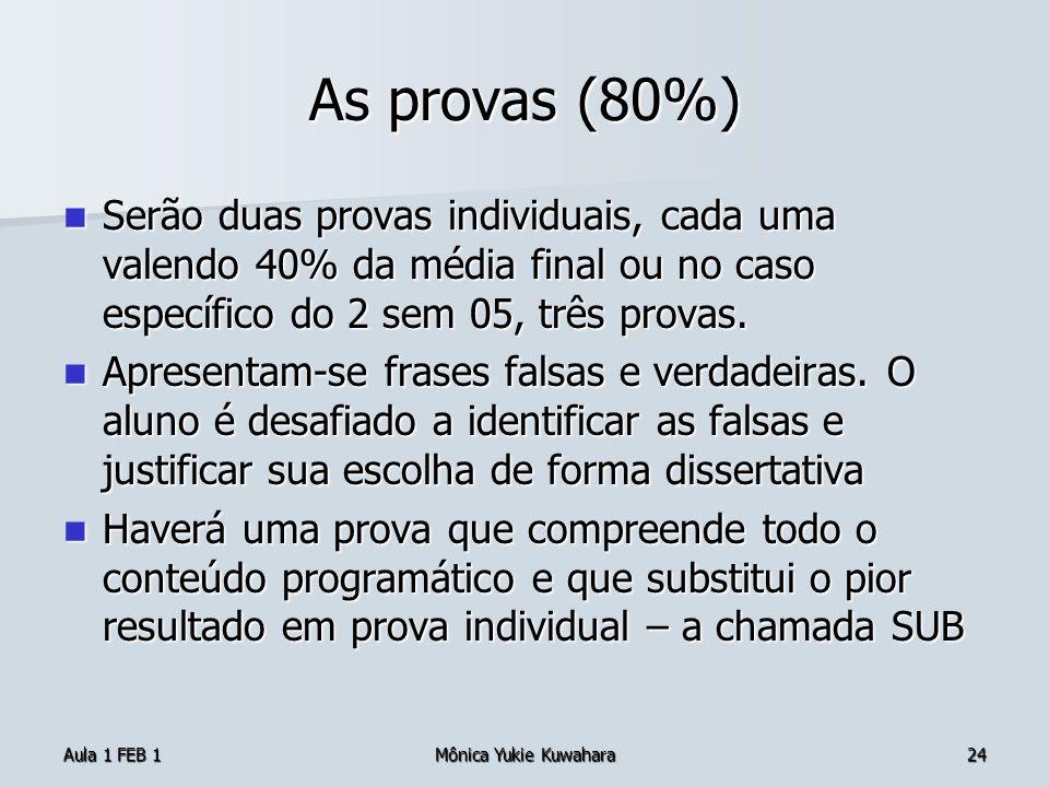 Aula 1 FEB 1Mônica Yukie Kuwahara24 As provas (80%) Serão duas provas individuais, cada uma valendo 40% da média final ou no caso específico do 2 sem