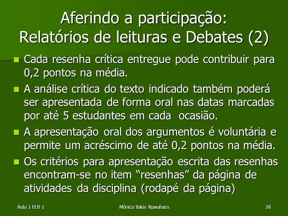 Aula 1 FEB 1Mônica Yukie Kuwahara28 Aferindo a participação: Relatórios de leituras e Debates (2) Cada resenha crítica entregue pode contribuir para 0