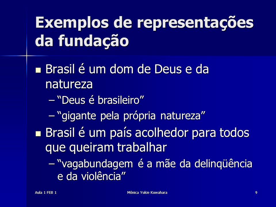 Aula 1 FEB 1Mônica Yukie Kuwahara9 Exemplos de representações da fundação Brasil é um dom de Deus e da natureza Brasil é um dom de Deus e da natureza