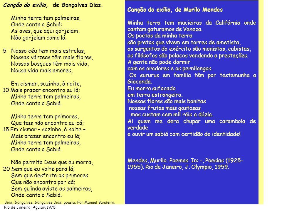 Canção do exílio, de Gonçalves Dias.