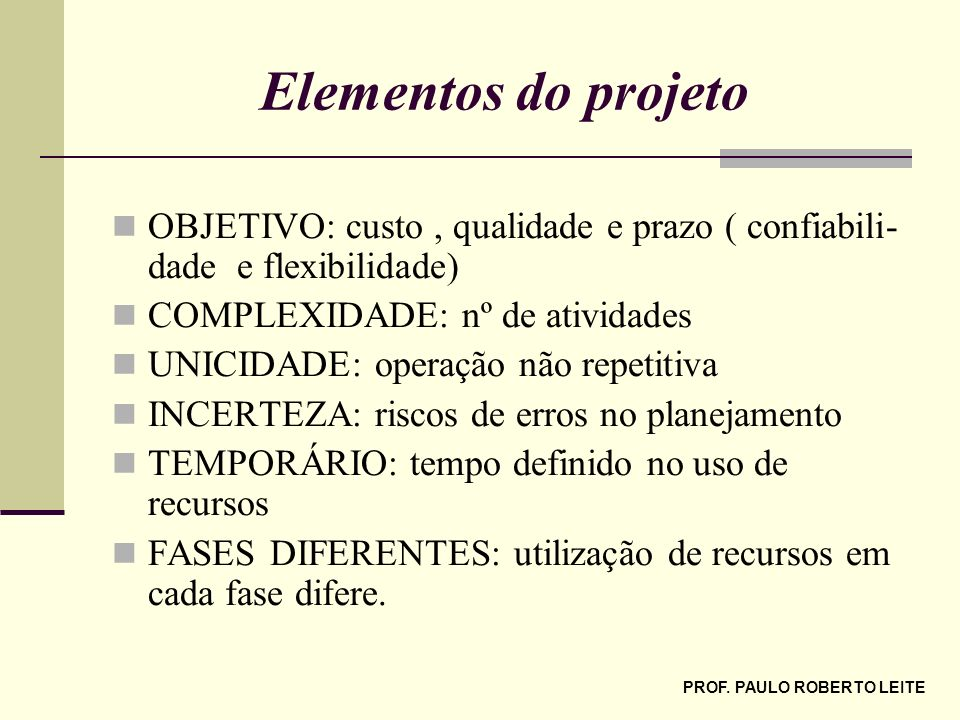 PROF. PAULO ROBERTO LEITE Elementos do projeto OBJETIVO: custo, qualidade e prazo ( confiabili- dade e flexibilidade) COMPLEXIDADE: nº de atividades U