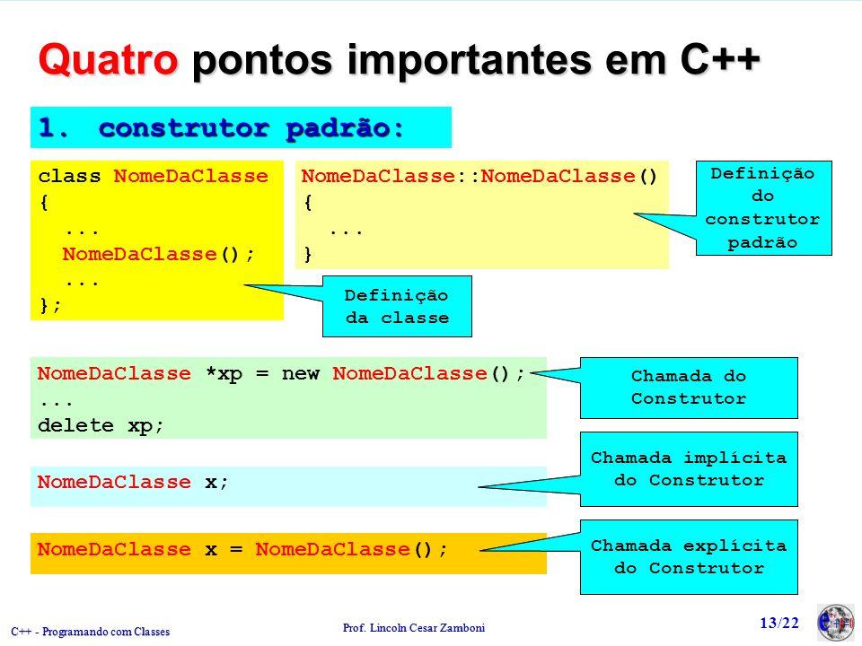 C++ - Programando com Classes Prof.Lincoln Cesar Zamboni 13/22 1.