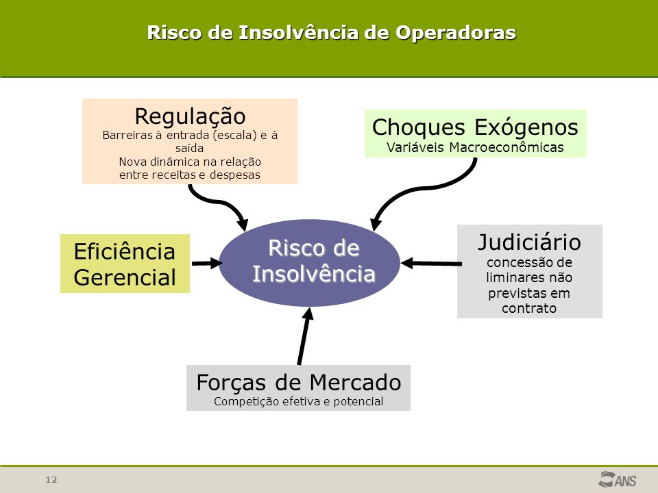 12 Risco de Insolvência Choques Exógenos Variáveis Macroeconômicas Regulação Barreiras à entrada (escala) e à saída Nova dinâmica na relação entre rec