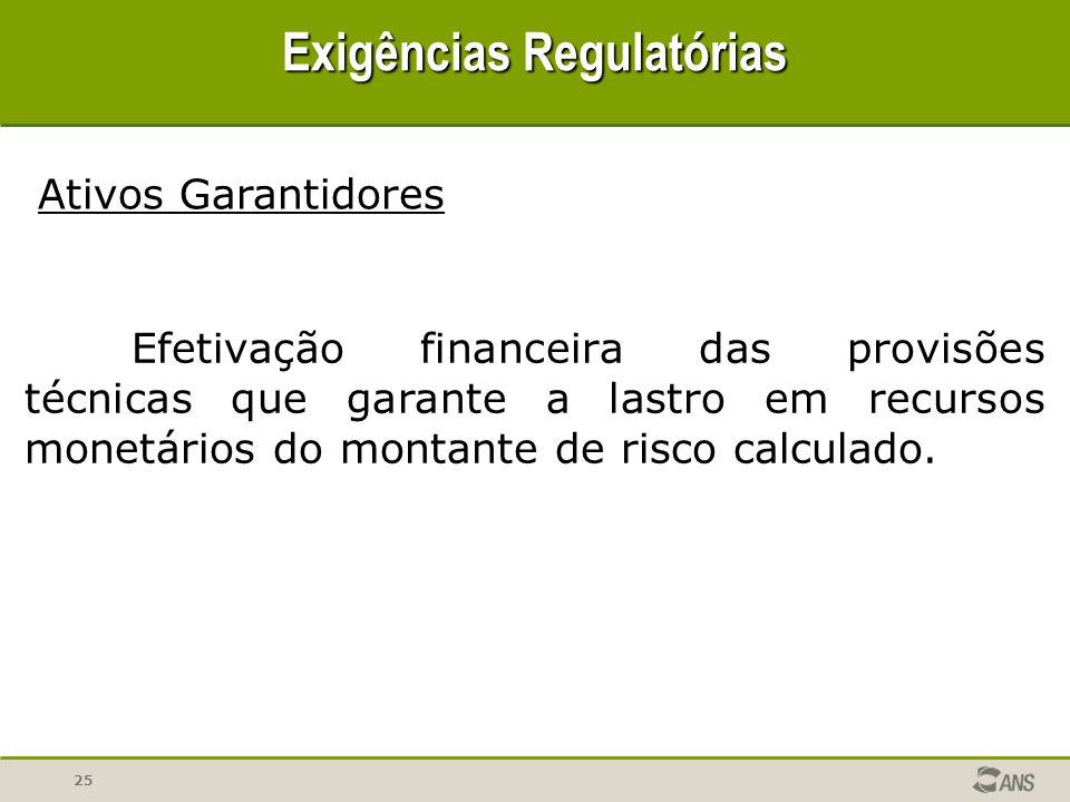 25 Exigências Regulatórias Efetivação financeira das provisões técnicas que garante a lastro em recursos monetários do montante de risco calculado. At