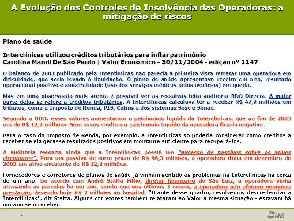 4 Plano de saúde Interclínicas utilizou créditos tributários para inflar patrimônio Carolina Mandl De São Paulo | Valor Econômico - 30/11/2004 - ediçã