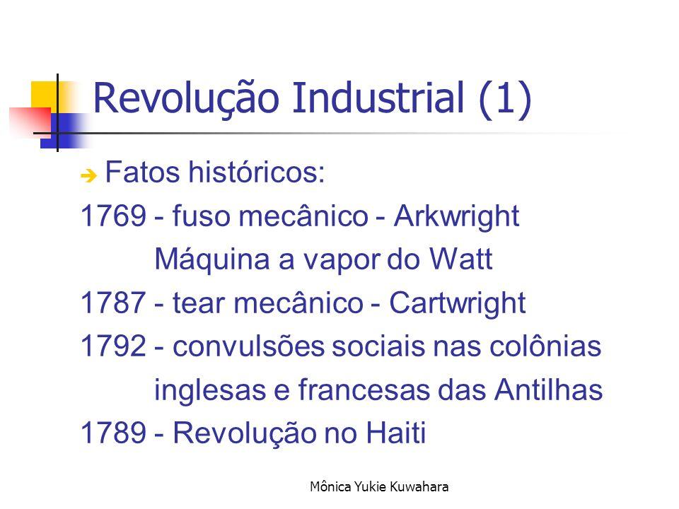 Mônica Yukie Kuwahara Revolução Industrial (1) Fatos históricos: 1769 - fuso mecânico - Arkwright Máquina a vapor do Watt 1787 - tear mecânico - Cartw