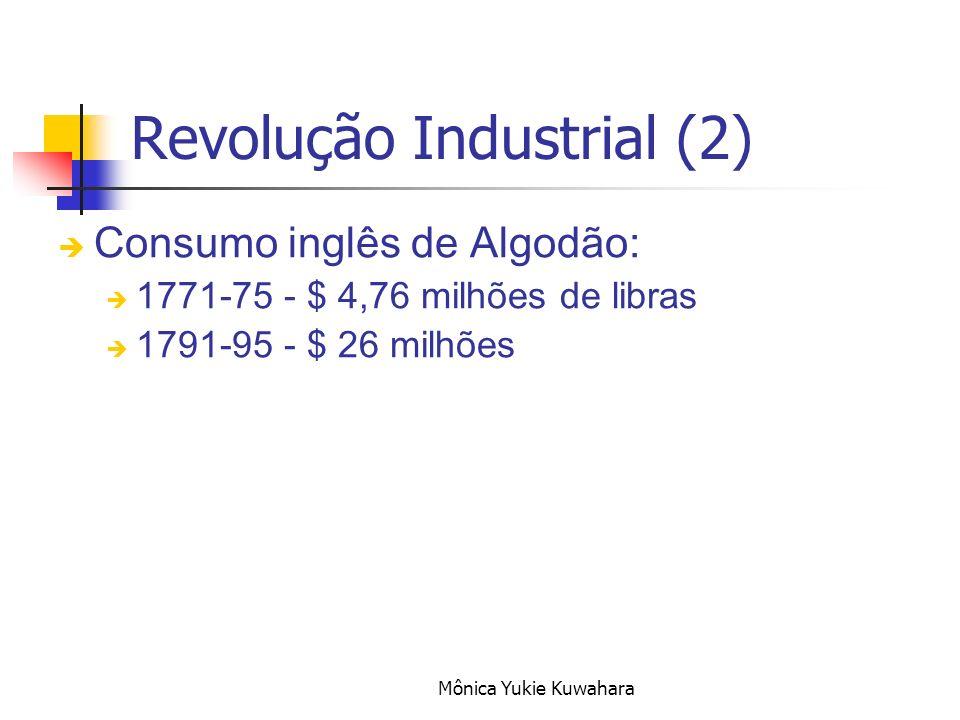 Mônica Yukie Kuwahara Consumo inglês de Algodão: 1771-75 - $ 4,76 milhões de libras 1791-95 - $ 26 milhões Revolução Industrial (2)