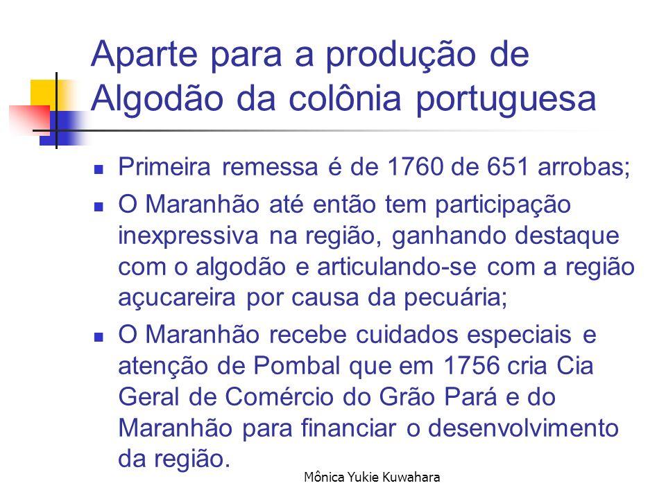 Mônica Yukie Kuwahara Aparte para a produção de Algodão da colônia portuguesa Primeira remessa é de 1760 de 651 arrobas; O Maranhão até então tem part