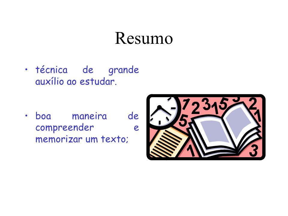 Resumo técnica de grande auxílio ao estudar. boa maneira de compreender e memorizar um texto;