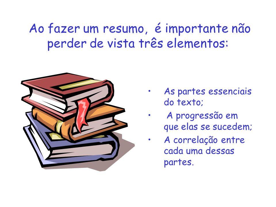 Ao fazer um resumo, é importante não perder de vista três elementos: As partes essenciais do texto; A progressão em que elas se sucedem; A correlação
