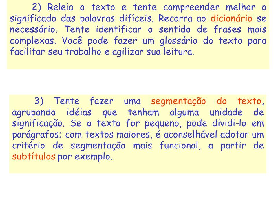 2) Releia o texto e tente compreender melhor o significado das palavras difíceis. Recorra ao dicionário se necessário. Tente identificar o sentido de