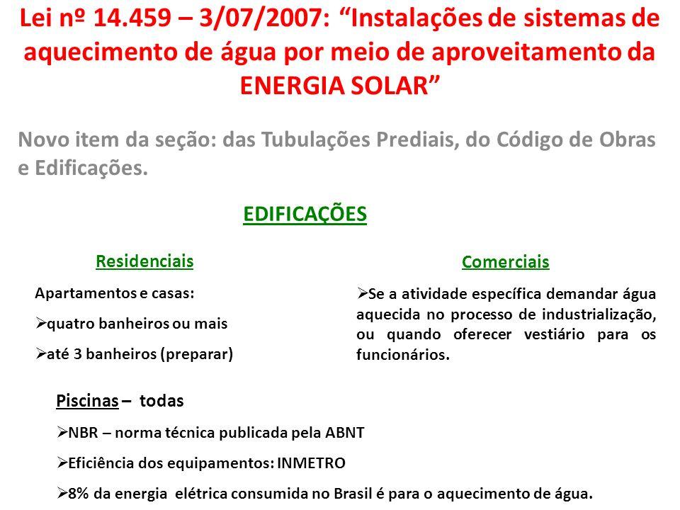 Lei nº 14.459 – 3/07/2007: Instalações de sistemas de aquecimento de água por meio de aproveitamento da ENERGIA SOLAR Novo item da seção: das Tubulaçõ