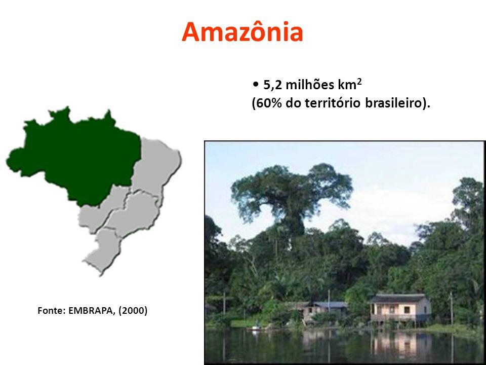 Amazônia 5,2 milhões km 2 (60% do território brasileiro). Fonte: EMBRAPA, (2000)