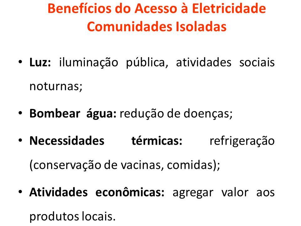 Benefícios do Acesso à Eletricidade Comunidades Isoladas Luz: iluminação pública, atividades sociais noturnas; Bombear água: redução de doenças; Neces