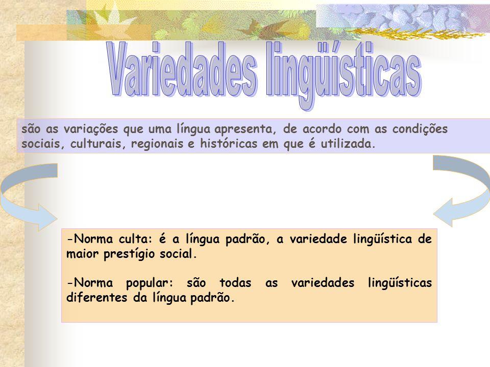 · Falares regionais ou dialetos · Linguagem urbana X linguagem rural.