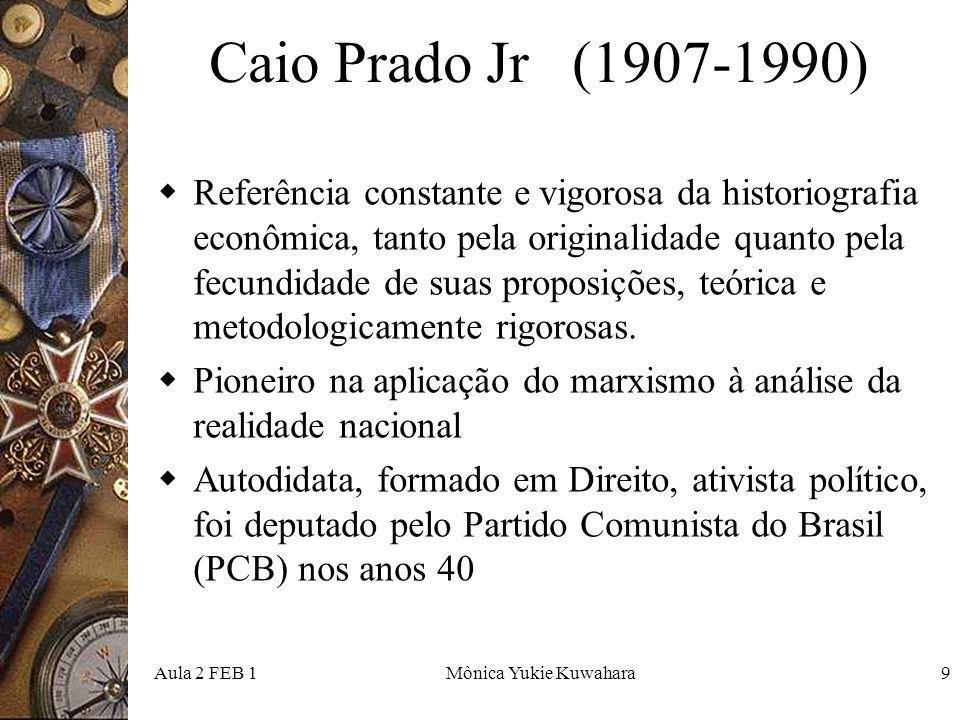 Aula 2 FEB 1Mônica Yukie Kuwahara10 A estréia Estréia no campo dos estudos históricos com o ensaio Evolução Política do Brasil (1933), obra que embora sendo mais de História Social e Política, coteja os temas econômicos ao buscar ir além do nível dos acontecimentos históricos, para chegar não apenas aos processos constituídos pelo encadeamento desses acontecimentos, mas principalmente às raízes materiais da sua ocorrência Szmrecsányi, 2004, p.20