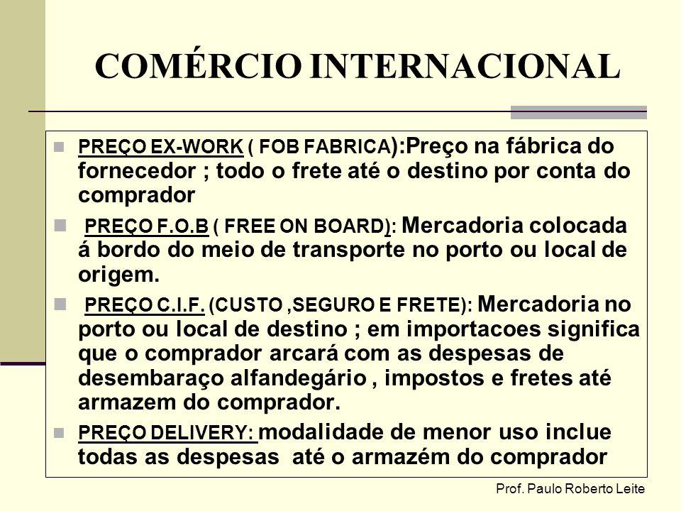 Prof. Paulo Roberto Leite COMÉRCIO INTERNACIONAL PREÇO EX-WORK ( FOB FABRICA ):Preço na fábrica do fornecedor ; todo o frete até o destino por conta d