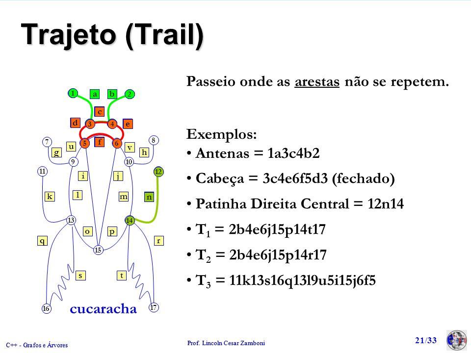 C++ - Grafos e Árvores Prof. Lincoln Cesar Zamboni 21/33 1 2 34 8 12 7 11 910 56 13 15 14 17 16 ab gh e d c f ij kn q st r po m l u v cucaracha Passei