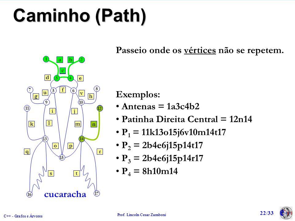 C++ - Grafos e Árvores Prof. Lincoln Cesar Zamboni 22/33 1 2 34 8 12 7 11 910 56 13 15 14 17 16 ab gh e d c f ij kn q st r po m l u v cucaracha Passei