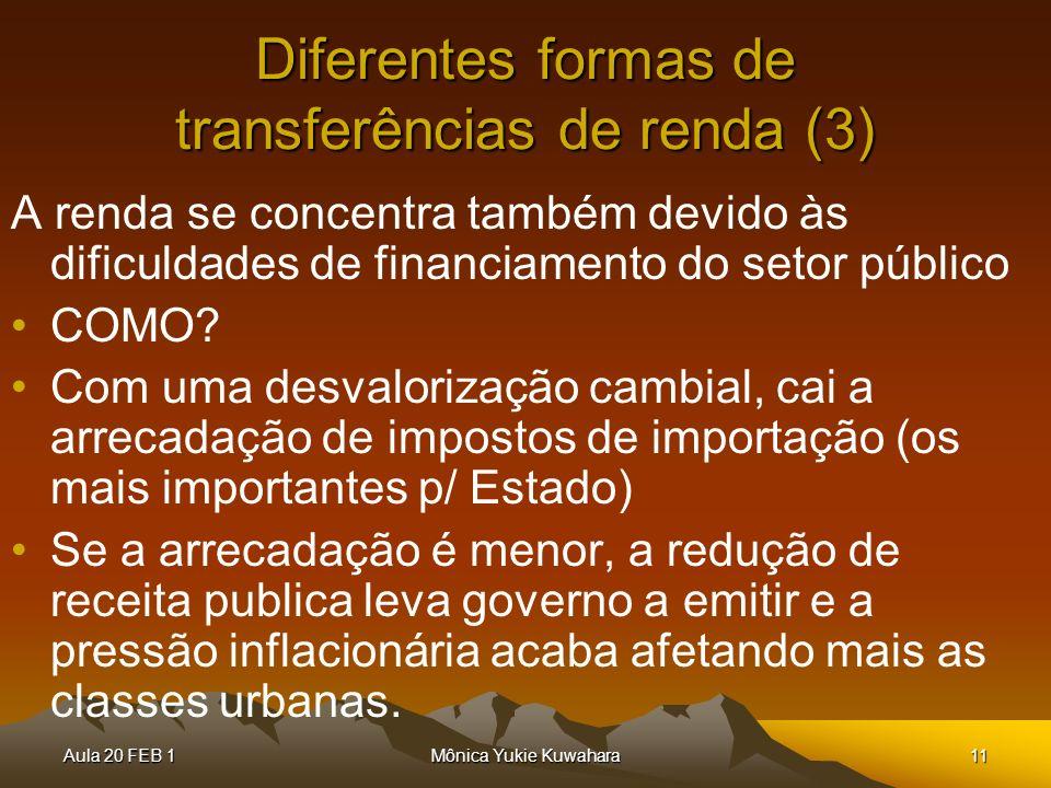 Aula 20 FEB 1Mônica Yukie Kuwahara11 Diferentes formas de transferências de renda (3) A renda se concentra também devido às dificuldades de financiame