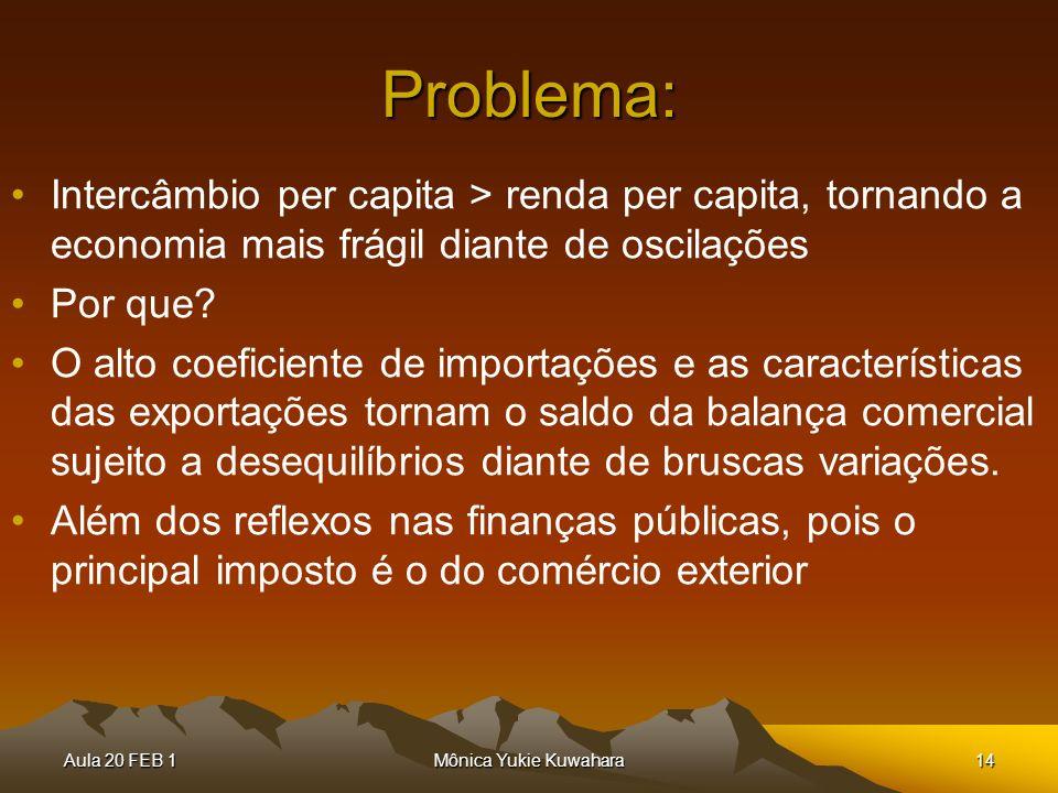 Aula 20 FEB 1Mônica Yukie Kuwahara14 Problema: Intercâmbio per capita > renda per capita, tornando a economia mais frágil diante de oscilações Por que
