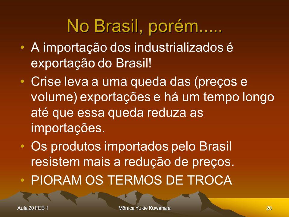 Aula 20 FEB 1Mônica Yukie Kuwahara20 No Brasil, porém..... A importação dos industrializados é exportação do Brasil! Crise leva a uma queda das (preço