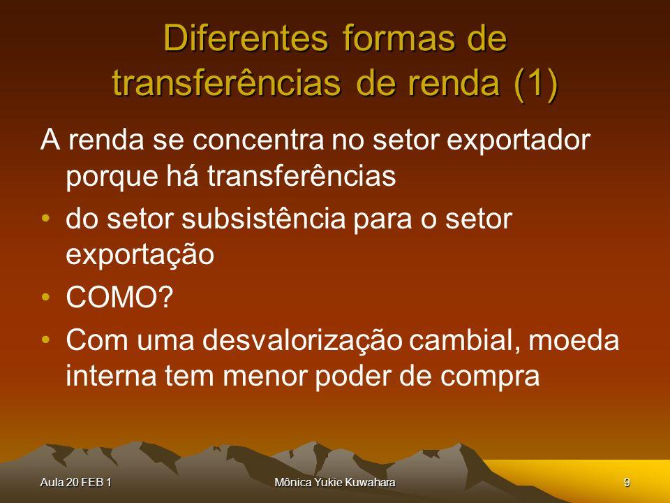 Aula 20 FEB 1Mônica Yukie Kuwahara9 Diferentes formas de transferências de renda (1) A renda se concentra no setor exportador porque há transferências