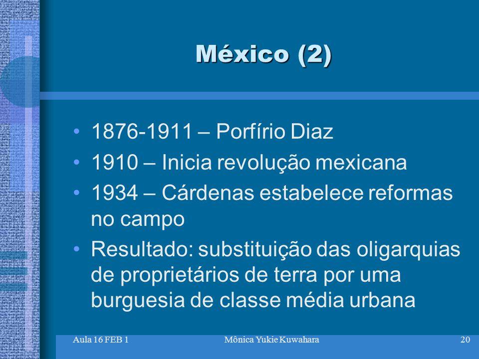 Aula 16 FEB 1Mônica Yukie Kuwahara20 México (2) 1876-1911 – Porfírio Diaz 1910 – Inicia revolução mexicana 1934 – Cárdenas estabelece reformas no camp