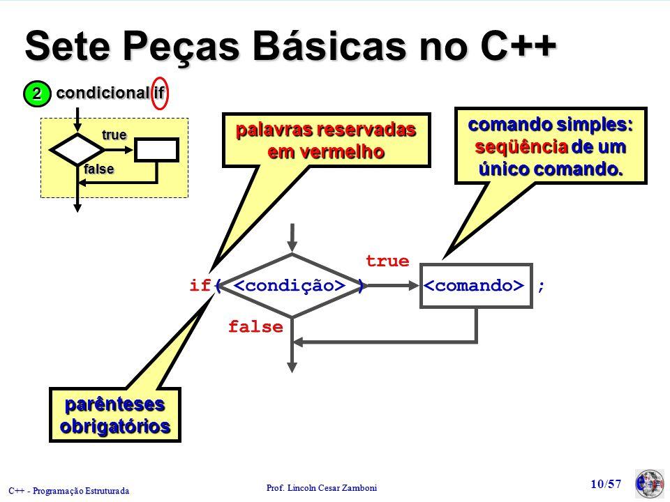 C++ - Programação Estruturada Prof. Lincoln Cesar Zamboni 10/57 Sete Peças Básicas no C++ comando simples: seqüência de um único comando. palavras res