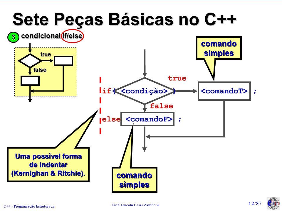 C++ - Programação Estruturada Prof. Lincoln Cesar Zamboni 12/57 Sete Peças Básicas no C++ comando simples true false Uma possível forma de indentar (K