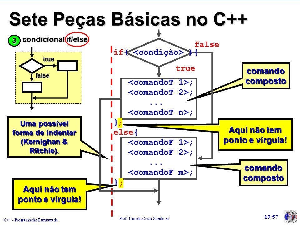 C++ - Programação Estruturada Prof. Lincoln Cesar Zamboni 13/57 Sete Peças Básicas no C++ ;; comando composto true false Uma possível forma de indenta