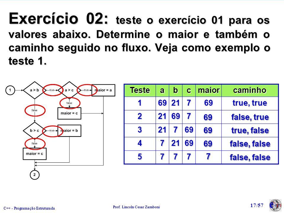 C++ - Programação Estruturada Prof. Lincoln Cesar Zamboni 17/57 Exercício 02: teste o exercício 01 para os valores abaixo. Determine o maior e também
