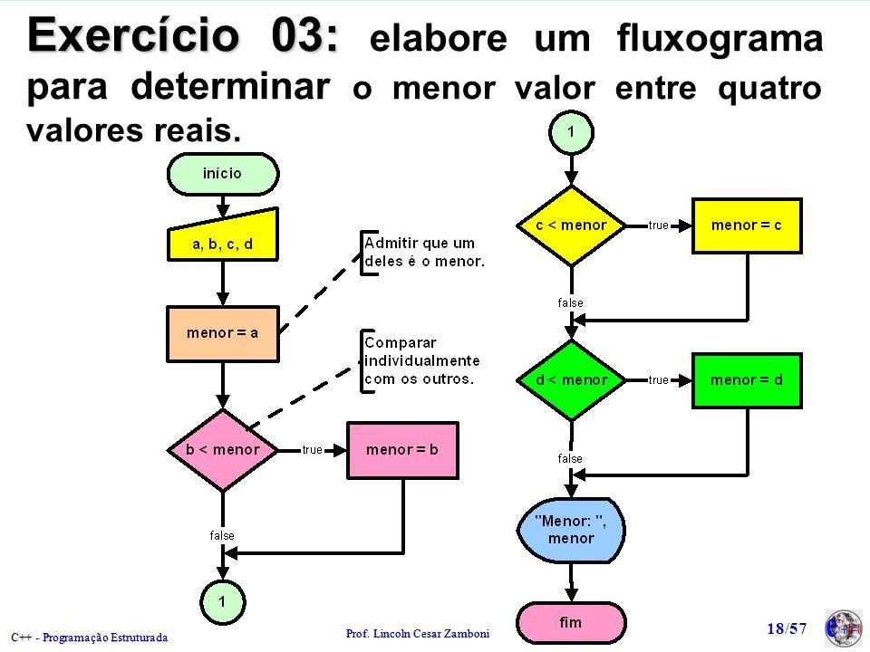 C++ - Programação Estruturada Prof. Lincoln Cesar Zamboni 18/57 Exercício 03: Exercício 03: elabore um fluxograma para determinar o menor valor entre