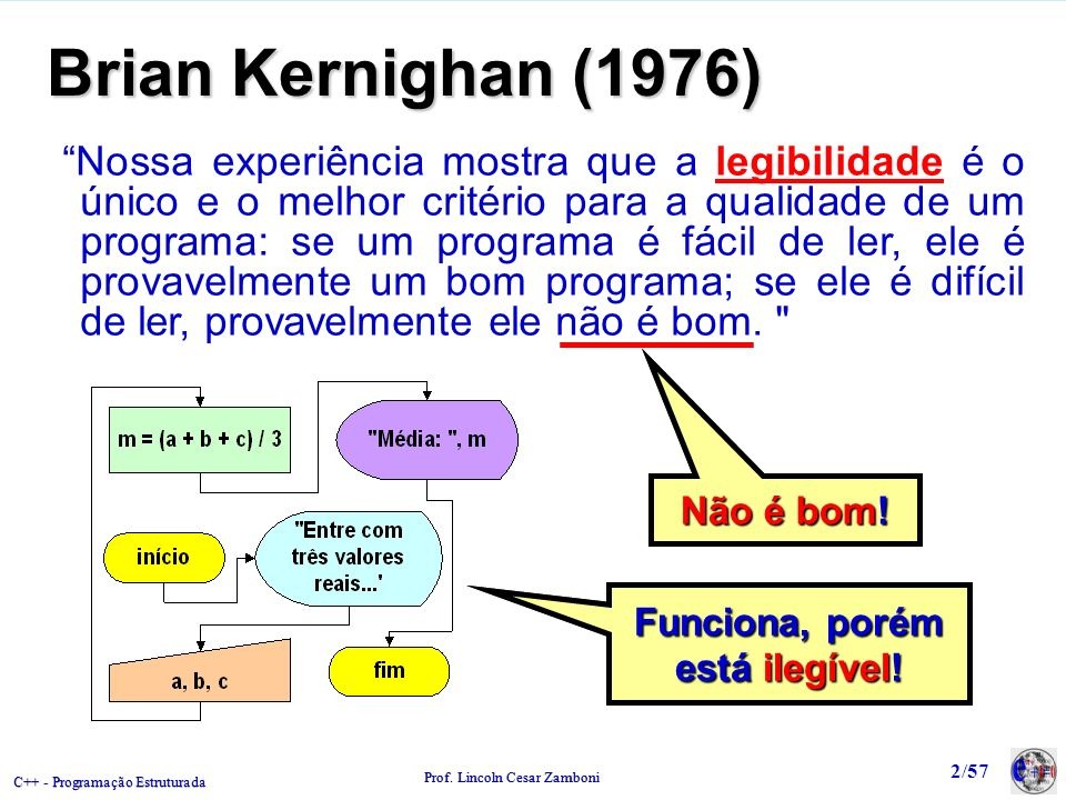 C++ - Programação Estruturada Prof. Lincoln Cesar Zamboni 2/57 Brian Kernighan (1976) Nossa experiência mostra que a legibilidade é o único e o melhor