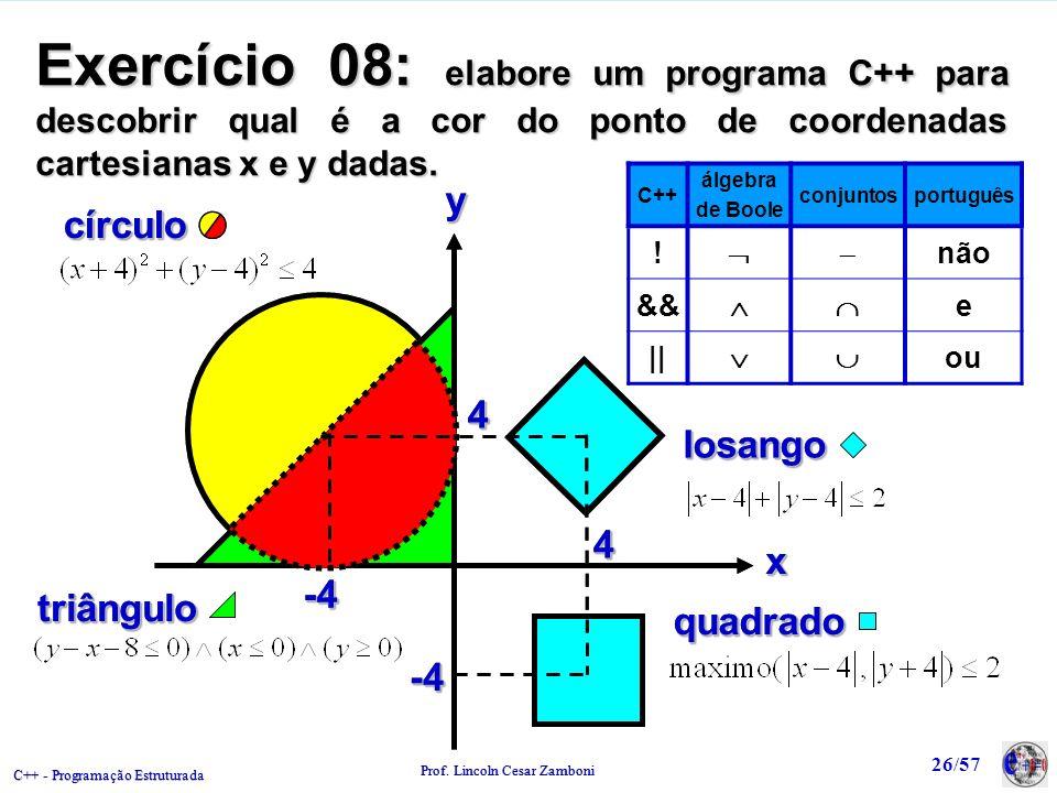 C++ - Programação Estruturada Prof. Lincoln Cesar Zamboni 26/57 Exercício 08: elabore um programa C++ para descobrir qual é a cor do ponto de coordena