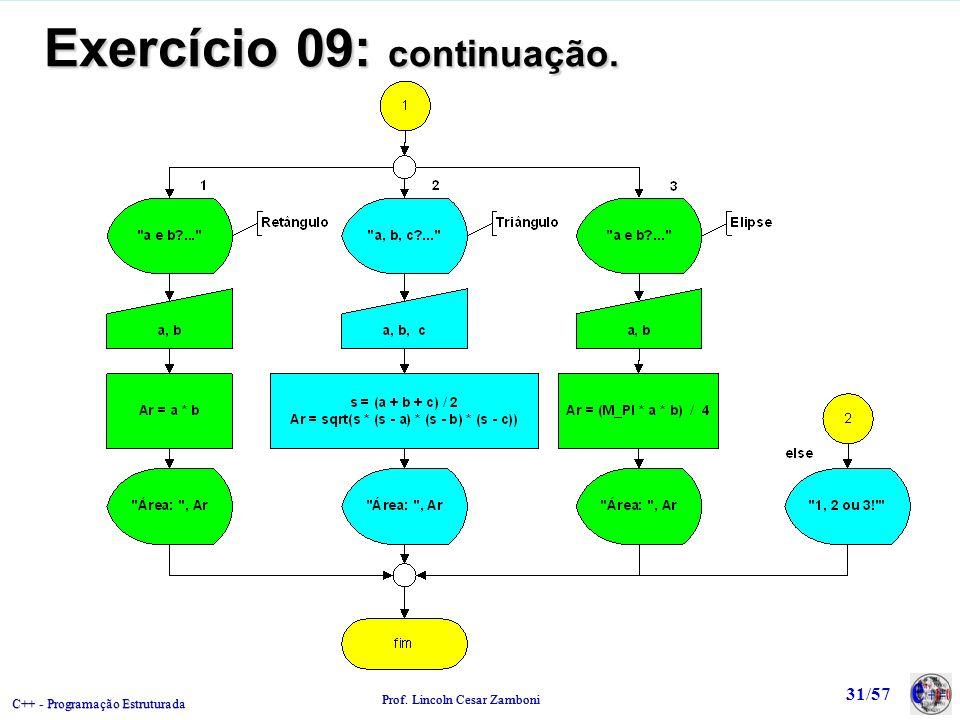 C++ - Programação Estruturada Prof. Lincoln Cesar Zamboni 31/57 Exercício 09: continuação.