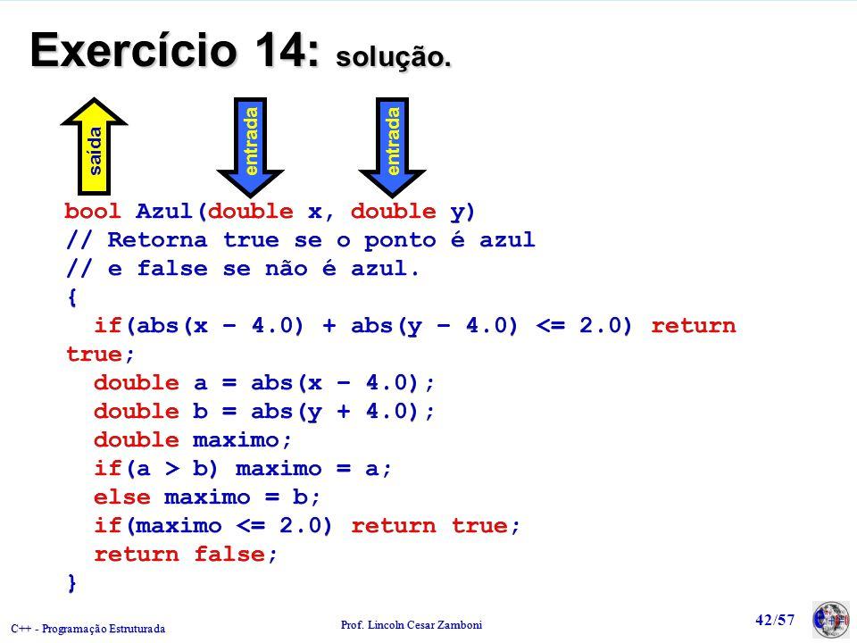 C++ - Programação Estruturada Prof. Lincoln Cesar Zamboni 42/57 Exercício 14: solução. bool Azul(double x, double y) // Retorna true se o ponto é azul