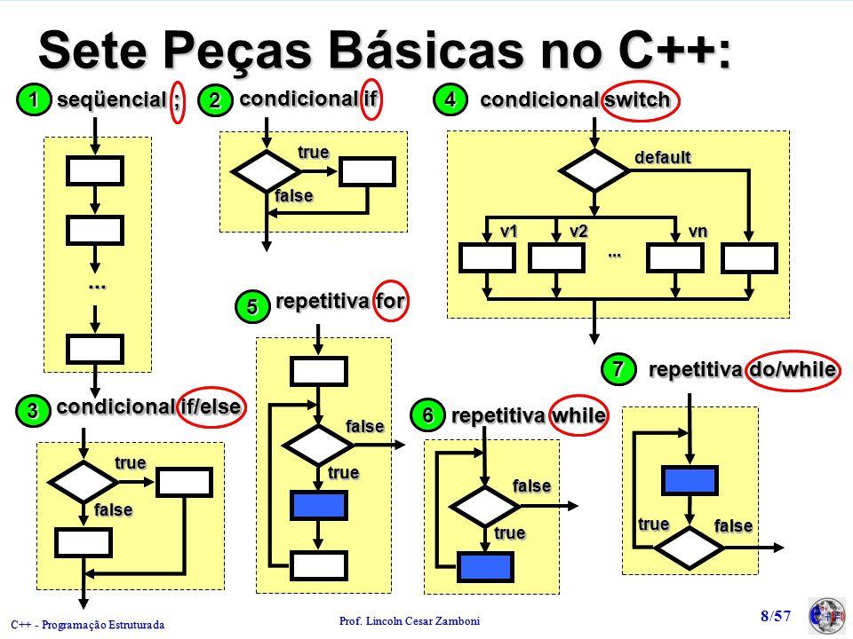 C++ - Programação Estruturada Prof. Lincoln Cesar Zamboni 8/57 Sete Peças Básicas no C++:...... 11 seqüencial ; 22 truetrue falsefalse condicional if